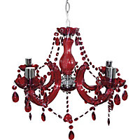 Inspire Chandelier 5 Light Ceiling Fitting - Ruby Red.