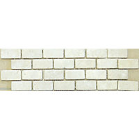 Tumbled Travertine Mosaic Wall and Floor Tiles - White - 4 Pack