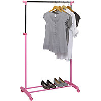 Adjustable Chrome Plated Clothes Rail - Pink.