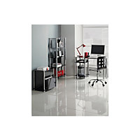 Hygena Matrix Glass Office Desk - Black.