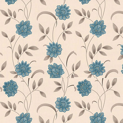 Image for Premier Sadie Paste the Wall Wallpaper - Teal and Cream from StoreName
