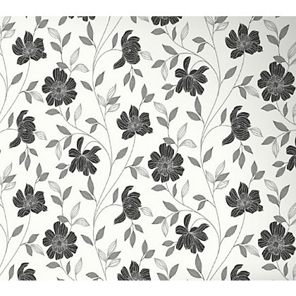 Image for Superfresco Textured Camille Wallpaper - Black and White from StoreName