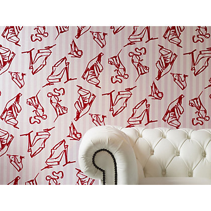 Image for Sample Barbara Hulanicki Wallpaper - Shoes Scarlet from StoreName