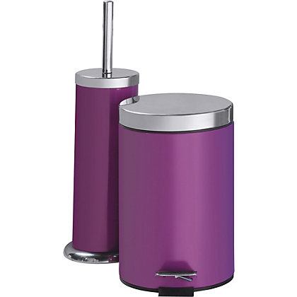 Colourmatch bathroom bin and toilet brush set purple fizz for Purple bathroom bin