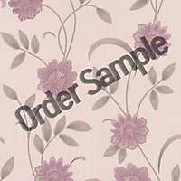 Sample Premier Sadie Wallpaper - Lavender and Cream