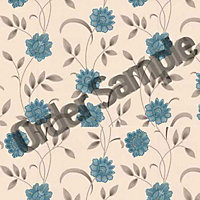 Sample Premier Sadie Wallpaper - Teal and Cream