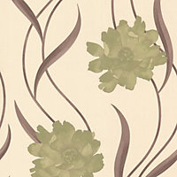 Sample Superfresco Poppy Wallpaper - Green and Cream