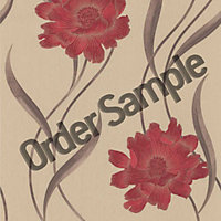 Sample Superfresco Poppy Wallpaper - Red and Beige