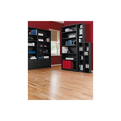 Maine Tall And Wide Extra Deep Bookcase Black Ash