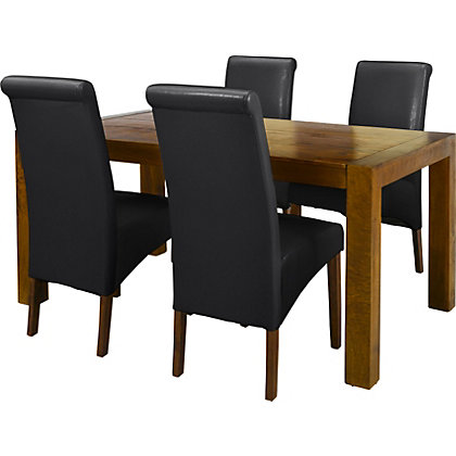 sorrento dining table and 4 black chairs at homebase. Black Bedroom Furniture Sets. Home Design Ideas