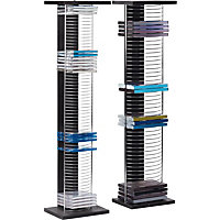 DVD and CD Media Storage Tower Unit - Black and Silver.