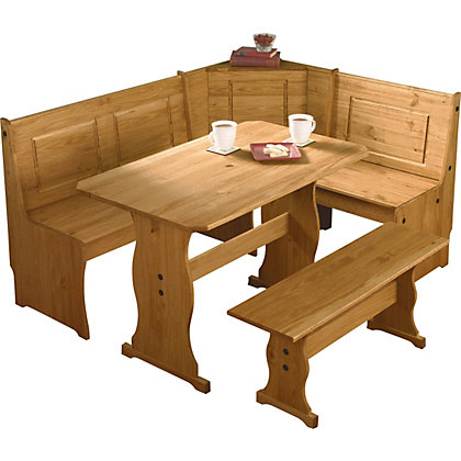 Table And Bench Set : ... Rico 3 Corner Bench Nook Pine Table and Bench Set. from StoreName