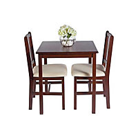 Kendall Walnut Dining Table and 2 Cream Chairs