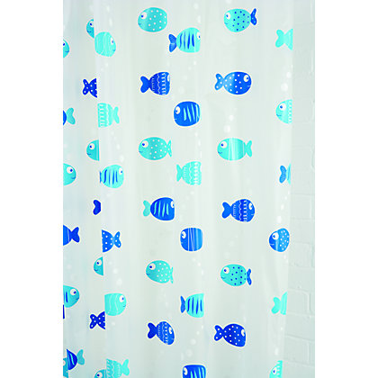 Image for Wiggly Fish Anti-Mould Vinyl Shower Curtain from StoreName