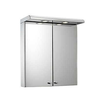 Image for Shire Two Door Illuminated Bathroom Cabinet - Stainless Steel from StoreName