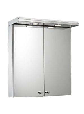 Shire Two Door Illuminated Bathroom Cabinet - Stainless
