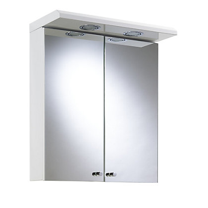 Image for Shire Two Door Illuminated Bathroom Cabinet - White Steel from StoreName