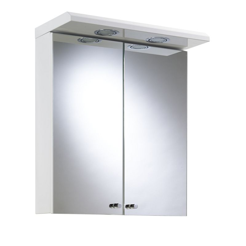 illuminated bathroom cabinet white steel the shire double door white