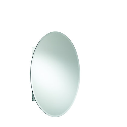 Image for Single Door Oval Bathroom Cabinet - Aluminium from StoreName