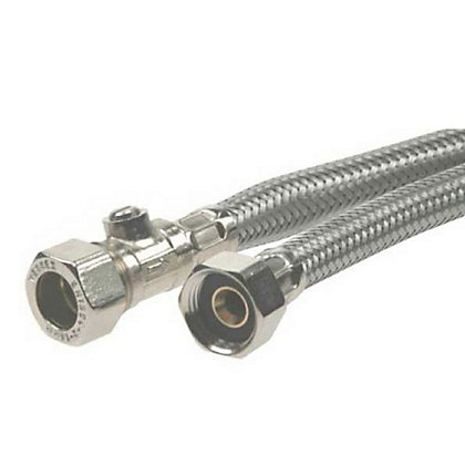 Image for Compression Braided Tap Connector with Valve - 15mm - 1/2in from StoreName