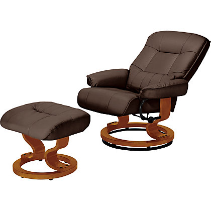 Image for Santos Leather Effect Recliner Chair & Footstool -Chocolate. from StoreName