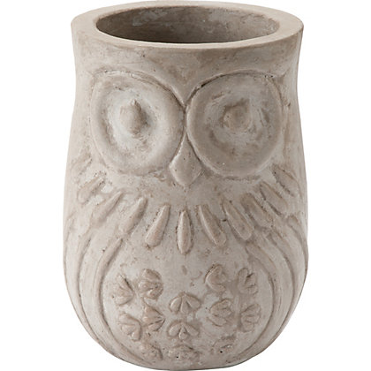 Image for Owl Grey Garden Planter - 18cm from StoreName