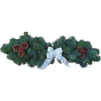 Fresh Decorated Christmas Fireplace Mantle Garland