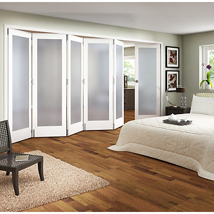 Image for Room Divider Obscure Glazed White Primed - 6 Door - 3771mm Wide from StoreName