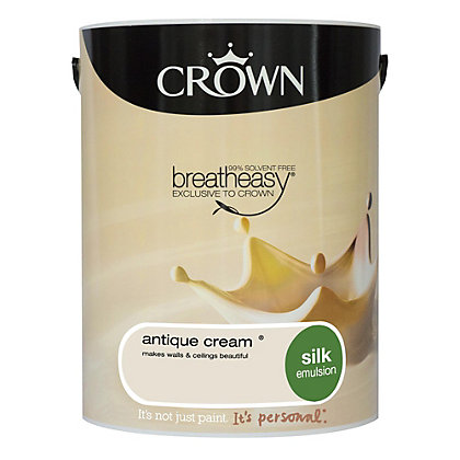 Image for Crown Breatheasy Antique Cream - Silk Emulsion Paint - 5L from StoreName