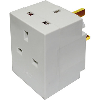 Image for Homebase 13A 3 Way Fused Adaptor - White from StoreName