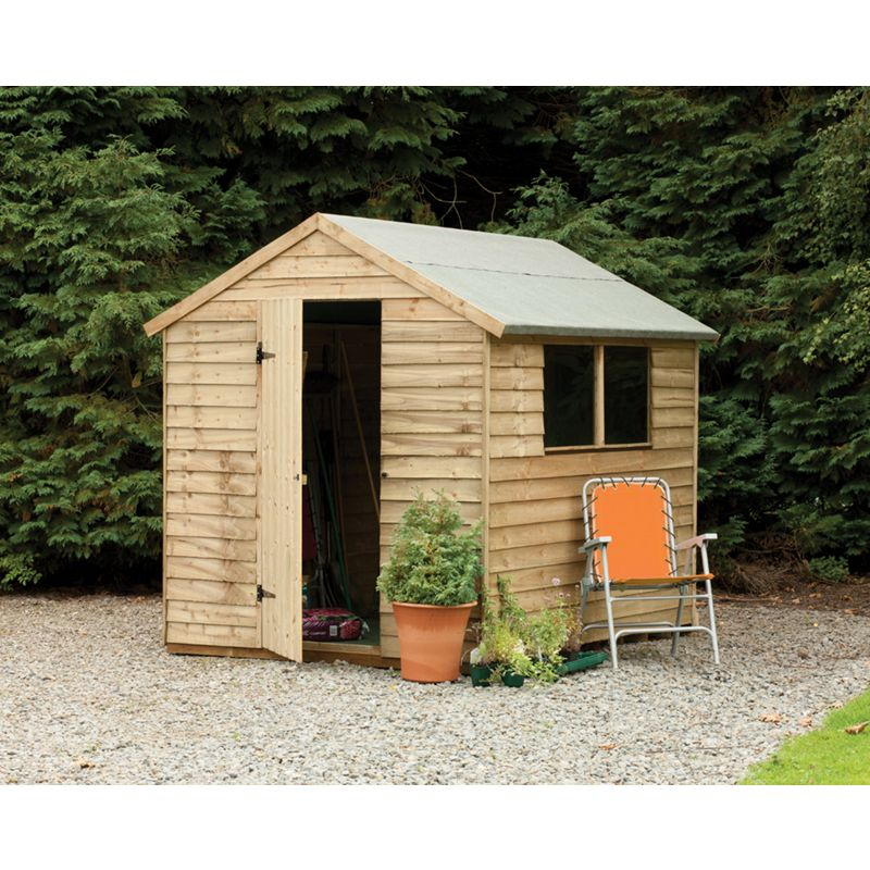Larchlap pressure treated overlap apex workshop 10ft x 8ft for Garden shed homebase