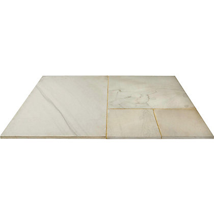 Image for Brett Polished Sandstone Paving Mixed Size Patio Pack 15.37 sq m 48 Pack - Autumn Buff from StoreName
