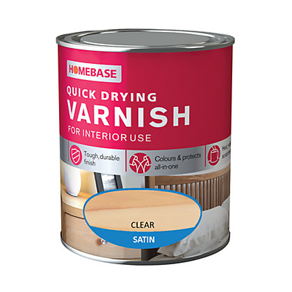 Image for Homebase Quickdry Varnish Satin Clear - 750ml from StoreName