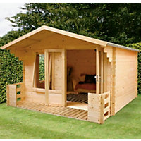 Mercia Sarah 19mm Log Cabin and Veranda - 11ft 3in x 11ft 2in