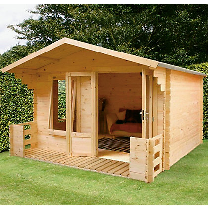 Image for Mercia Sarah 19mm Log Cabin and Veranda - 11ft 3in x 11ft 2in from StoreName