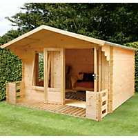 Mercia Sarah 19mm Log Cabin and Veranda - 10ft 10in x 12ft 5in