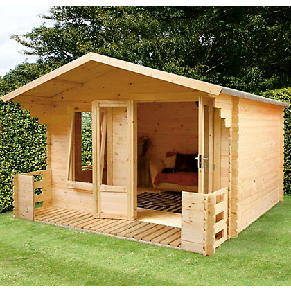 Image for Mercia Sarah 19mm Log Cabin and Veranda - 10ft 10in x 8ft 10in from StoreName