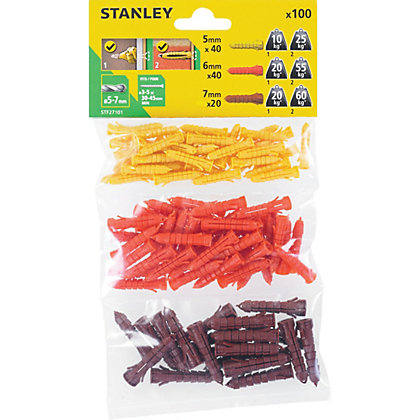 Image for Stanley Multi material plugs 5-7mm x100 - STF27101-XJ from StoreName