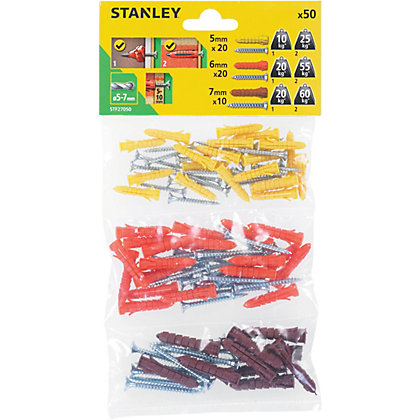Image for Stanley Multi material plugs and screws 5-7mm x50 - STF27050-XJ from StoreName