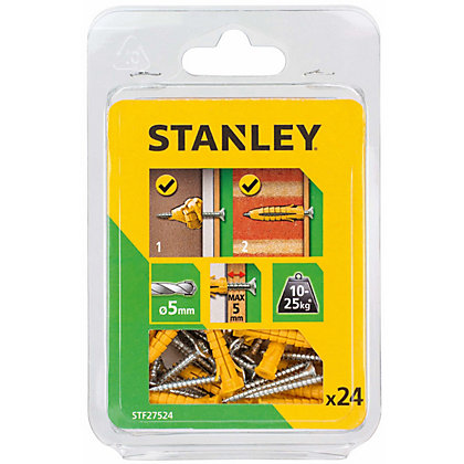 Image for Stanley Multi material yellow plugs&screws x24 - STF27524-XJ from StoreName
