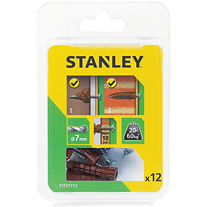 Image for Stanley Multi material brown plugs & screws x12 - STF27712-XJ from StoreName