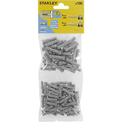 Image for Stanley 100X Mixed Solid Nylon Plugs 5and6mm - STF20560-XJ from StoreName