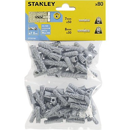 Image for Stanley 80X Mixed Solid Nylon Plugs 7and8mm - STF20780-XJ from StoreName