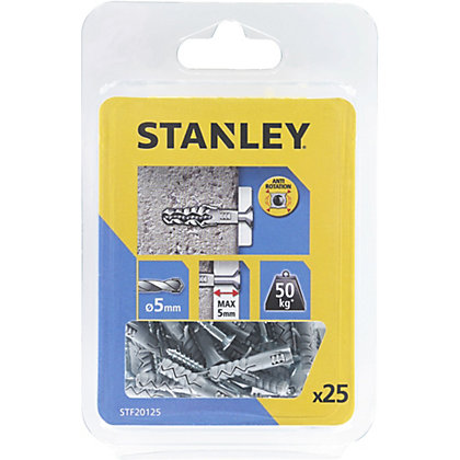 Image for Stanley 25x SOLID Nylon Plugs 5mm & Screws - STF20125-XJ from StoreName
