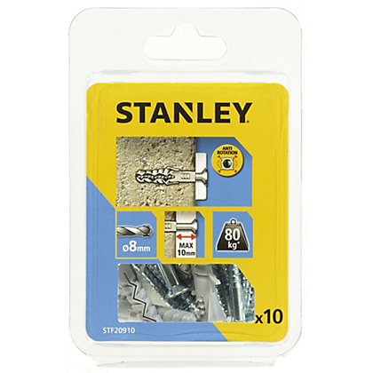 Image for Stanley 10Xsolid Nylon Plugs 8mm and Screws - STF20910-XJ from StoreName