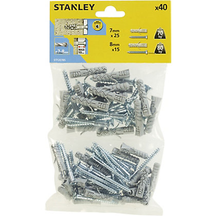 Image for Stanley 40X Solid Nylon Plugs 7 and 8mm and Screws - STF20785-XJ from StoreName