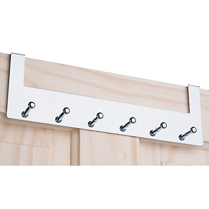 Image for Over the Door Hook Rail - Polished Chrome - 6 Hooks from StoreName