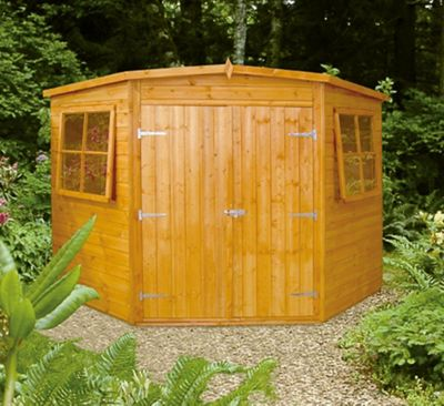 Homewood Shiplap Corner Wooden Shed - 7ft x 7ft