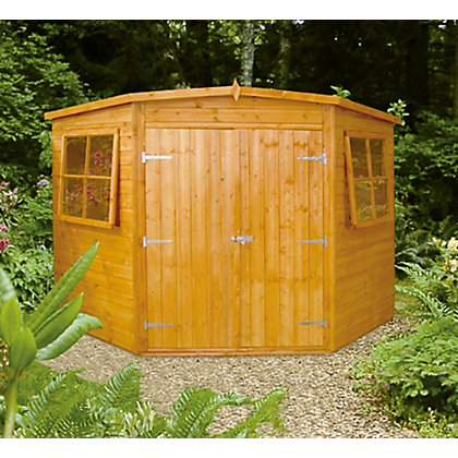 Image for Homewood Shiplap Corner Wooden Shed - 7ft x 7ft from StoreName