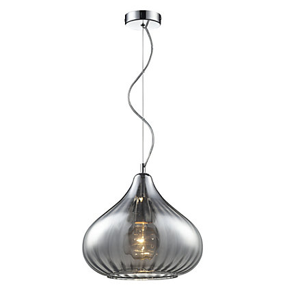 Image for Smoke Curved Glass Pendant Light from StoreName